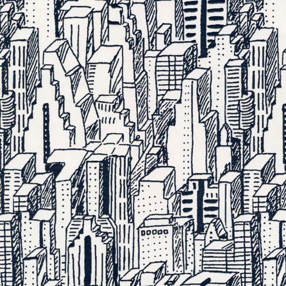 British Design Talent City Scape Black & White Wallpaper, 5011655162291