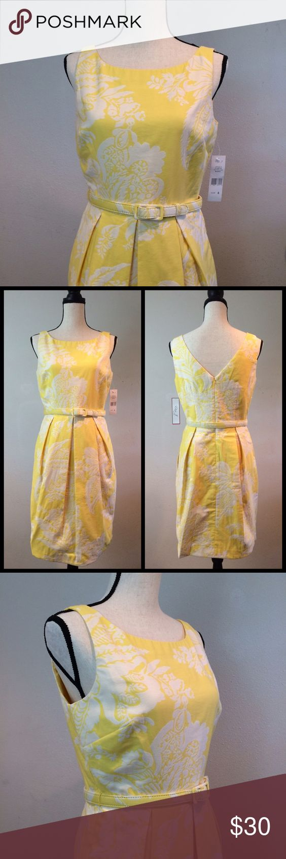 "🌷Eliza J Spring Dress🌷 This yellow and white floral dress by Eliza J is new with tags. It has bubble style hem, box pleats, a coordinating belt, and pockets! The dress is fully lined. The skirt measures 23"" from the waist to bottom hem in the front and 20"" from the waist to the bottom hem in back. Dress is 86% cotton, 14% nylon. Lining is 100% acetate. Dry clean only. Eliza J Dresses Midi"
