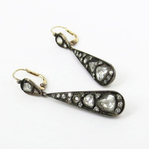 1800's Antique Georgian 2 0ct Rose Cut Diamond Silver Gold Drop Earrings | eBay