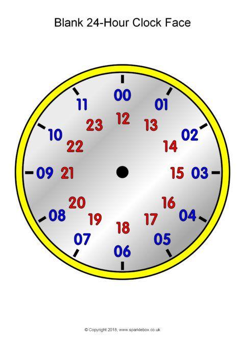 Blank 24-Hour Analogue Clocks (SB12496) - SparkleBox | 24 hour clock worksheets, 24 hour clock, Clock worksheets
