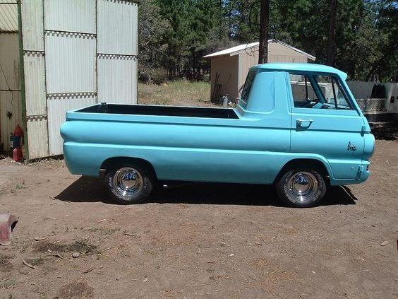 Light blue Dodge A100 truck