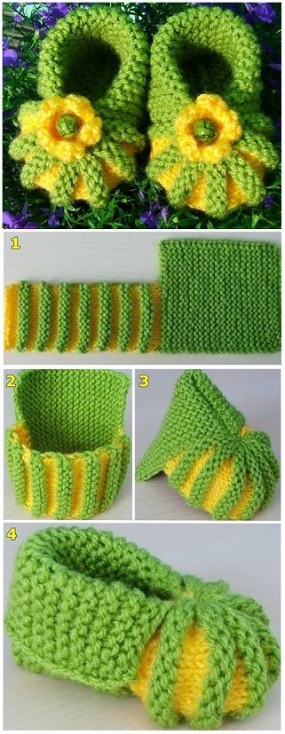 Malha Sapatinho de Bebê -  /   Knitted Baby Booties -: