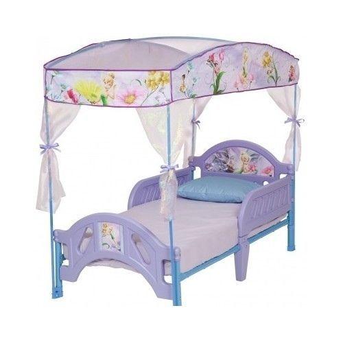 Children's Disney Fairies Toddler Canopy Bed Bedroom Furniture Purple Tinkerbell