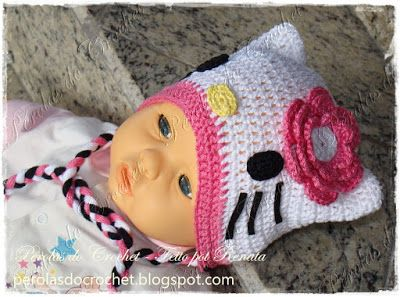 touca bebe croche flor - Pesquisa do Google