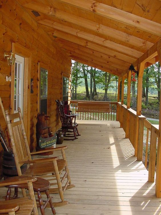 Summer decorating book and the chair on pinterest for Log cabin porches and decks