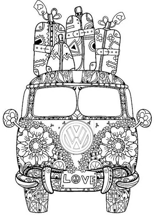 Mandala Bus Volkswagen Van Coloring Page Vw Art Volkswagen Van