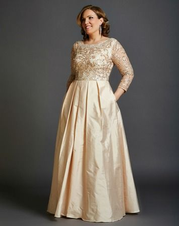 Blush Beaded Lace and Taffeta Gown with Sleeve Aidan Mattox ...