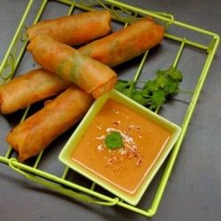 Chinese Spring Rolls w/ Thai Peanut Dipping Sauce