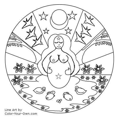 Line Art Mandala : Mother goddess spring mandala line art embroidery