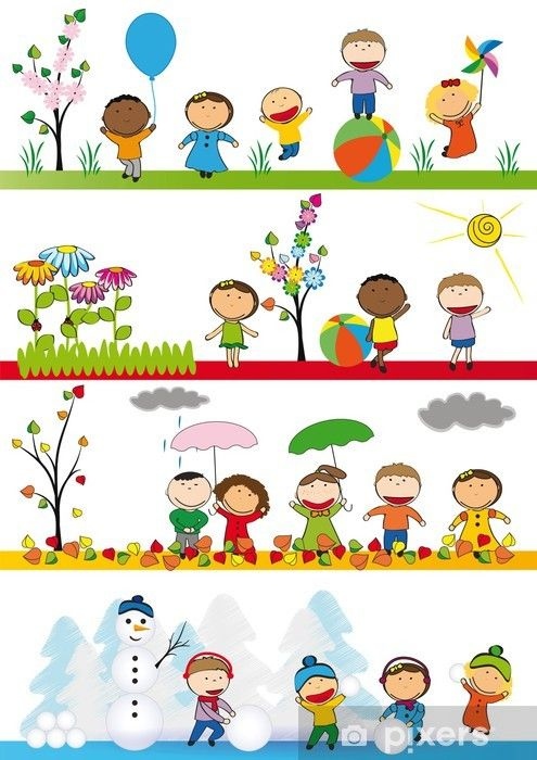 Kids in four season Vinyl Wall Mural - Seasons