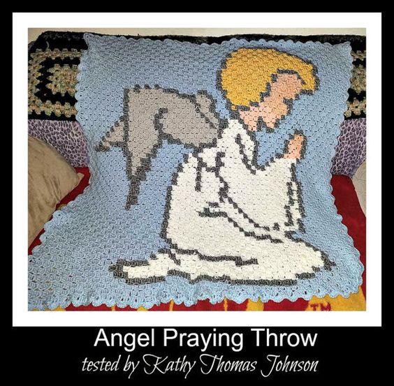 Angel Praying C2C Graph & Written Word Chart by CrochetCouch