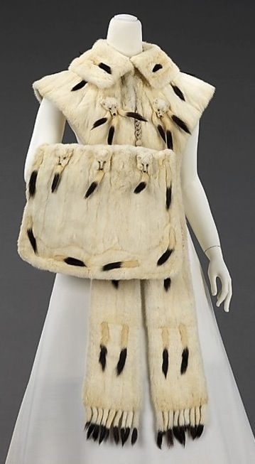 1890s ermine set from The Metropolitan Museum of Art; and 1890s Caroline Reboux feather and fur muff via The Costume Institute of the Metropolitan Museum of Art: