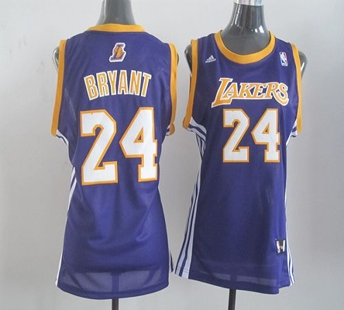 lakers 24 kobe bryant purple womens road embroidered nba jersey