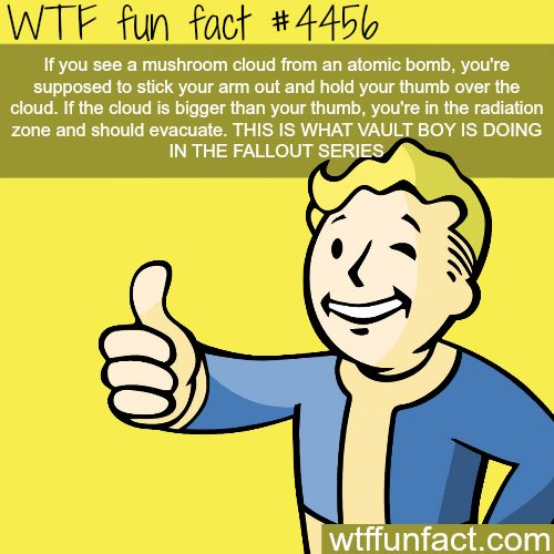 Why Vault boy is holding his thumb out in fall the fallout series -   WTF fun facts