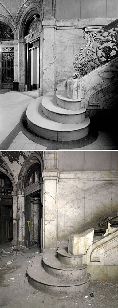 The abandoned Farwell Building, 1249 Griswold St., Detroit, Michigan: Before and after.
