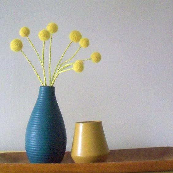 Yellow felt pom pom flowers.  Lemongrass bouquet.  by berryisland