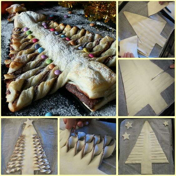 Albero di pasta sfoglia alla nutella, con un dettagliato passo passo fotografico pe realizzarlo. Ricetta per le feste natalizie.