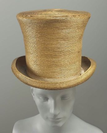 Man's Straw Top Hat, 1820-1840.