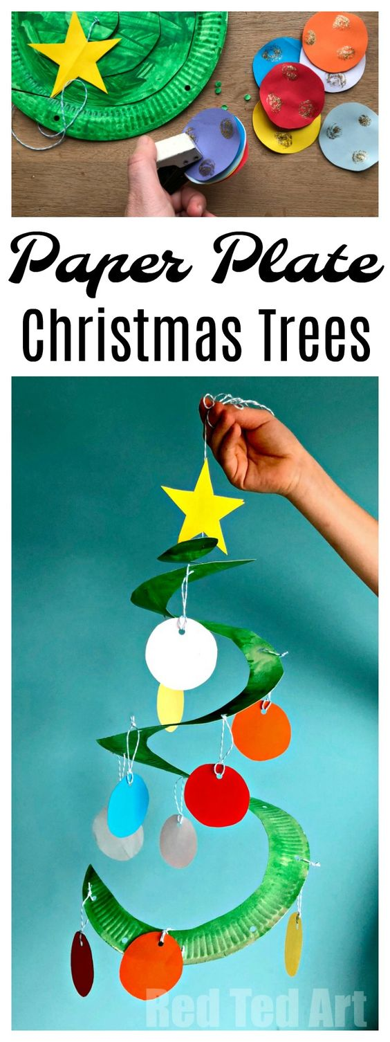 Paper Plate Christmas Tree Whirligig Red Ted Art Make Crafting With Kids Easy Fun Classroom Christmas Decorations Preschool Christmas Preschool Christmas Crafts