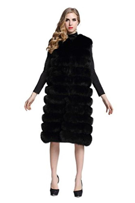 Topfur Women's Long Black Vest Fox Fur Gilet Waistcoat Winter Outerwear(US 20) - Brought to you by Avarsha.com