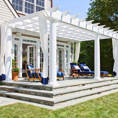 nice: Outdoor Living, Outdoor Patio, White Pergola, Back Porches, Outdoor Curtains, Outdoor Spaces, Patio Ideas, Blue And White