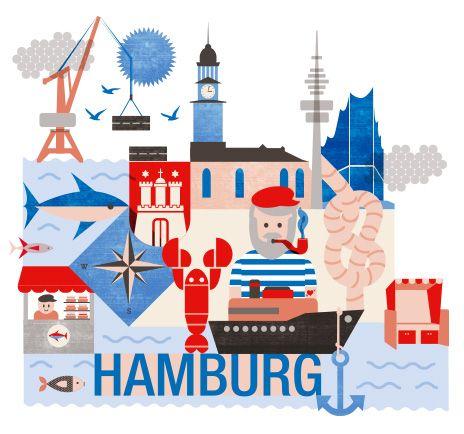 Hamburg illustration - Dein Sommertrip 2014 - Hamburg - DaWanda