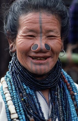 Image result for Apatani tattooing in Arunachal Pradesh