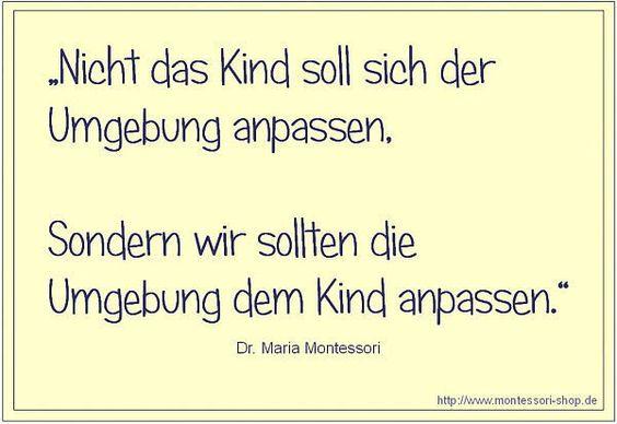 Zitat nach maria montessori spr che pinterest for Raumgestaltung deutsch