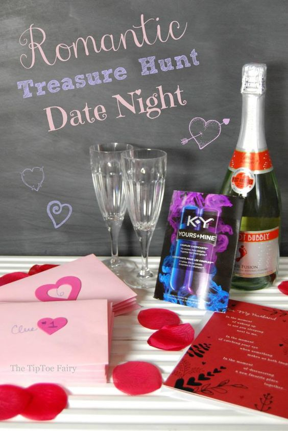 A total how-to for a date night or Valentine's Day romantic treasure hunt for your boyfriend or hubby! He'll love it!