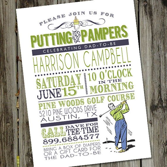 Putting and Pampers PRINTABLE Male Baby Shower Golf by partymonkey, $16.00
