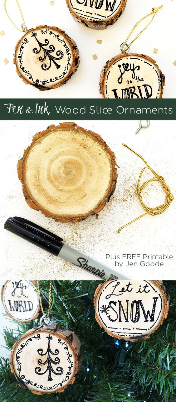 Christmas Pen and Ink Wood Slice Ornaments Wood Slices, Pen And
