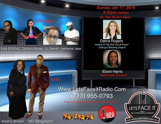 "Want to know how to use a breakup as a catalyst to having the life you deserve? Whether you can be friends ex or not? The pitfalls of Friend-With-Benefits? How to date again after a breakup? It's all here! Check out the 22 minute replay of my interview with the fabulous Let's Face It"" with Wil Strayhorn & Friends! (It starts at: 36:45). #sex #relationships #breakups #hedidyouafavor #shedidyouafavor #debrarogers"