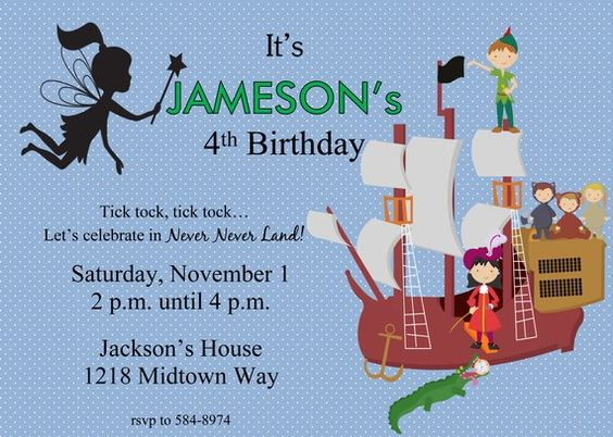 Neverland invitation – Neverland Party Invitations