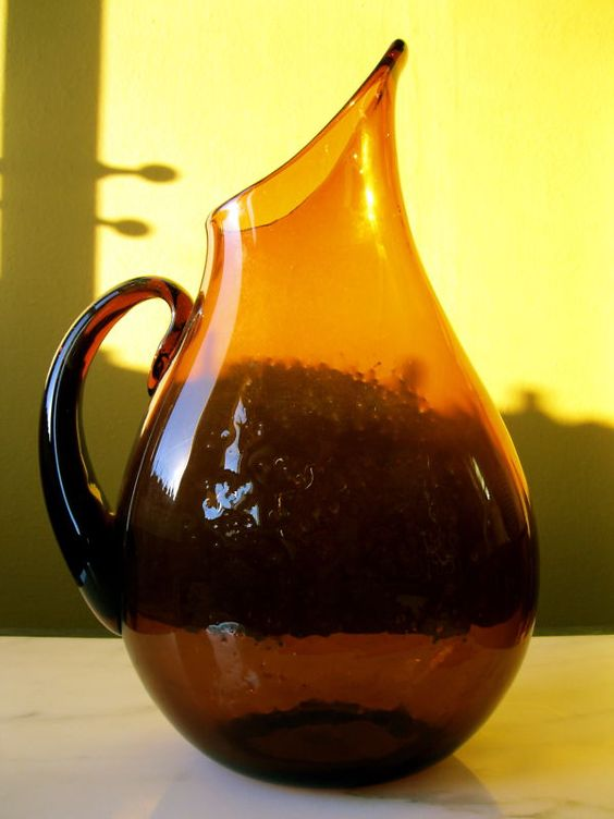 Wow vintage blenko art glass pitcher anderson 967 honey for Anderson art glass