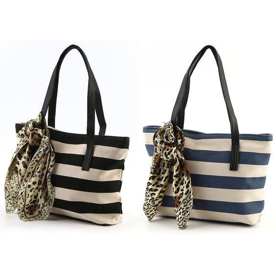Exquisite Canvas Navy Style Stripe Handbag Ladies Party Clutch Shoulder Tote Oe
