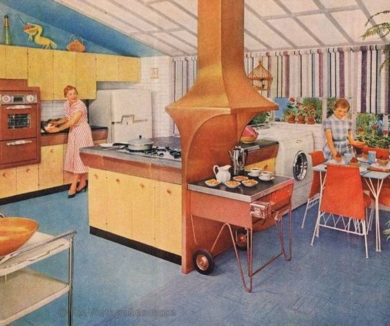 Vintage Kitchen Hood: Stunning MCM Kitchen With Indoor Grill And Copper Vent Hood