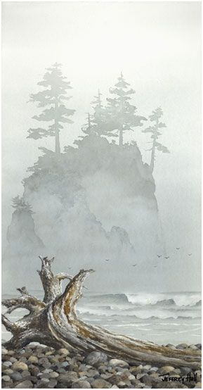 Jeffrey Hull watercolor, Cannon Beach, Oregon: