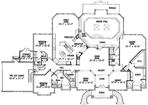 Plan GE  Luxurious Indoor Pool   One Story Houses  First    One story house plan   indoor pool