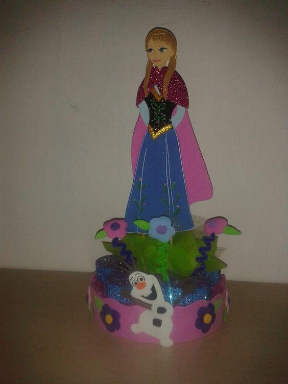 Decoracion sencilla de Anna y Olaf...