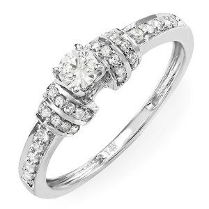0.50 Carat (ctw) 14k White Gold Round Diamond Ladies Engagement Bridal Promise Ring --- http://www.pinterest.com.yolo.bz/2hb