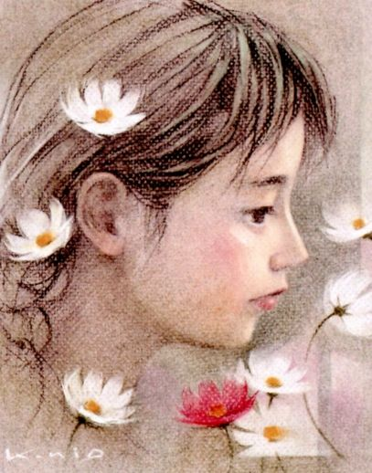 Little girl with daisies, by Kunio Ota.