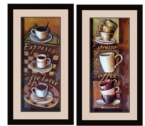 Cafe espresso 3d kitchen dining room wall art decor set of for Dining room 3d wall art