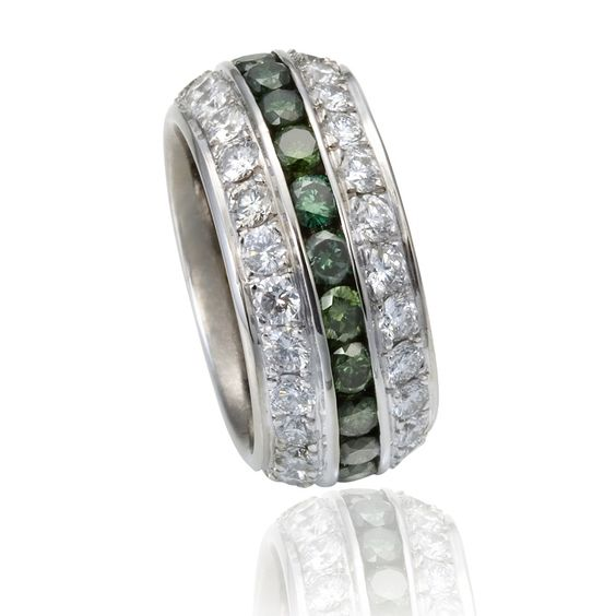 Etienne Perret Gents Triple-Channel wedding/commitment ring with 3 rows of gvs & green color enhanced natural diamonds channel set in 18kt white gold