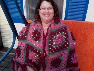 Rose Garden prayer shawl I crocheted and prayed over