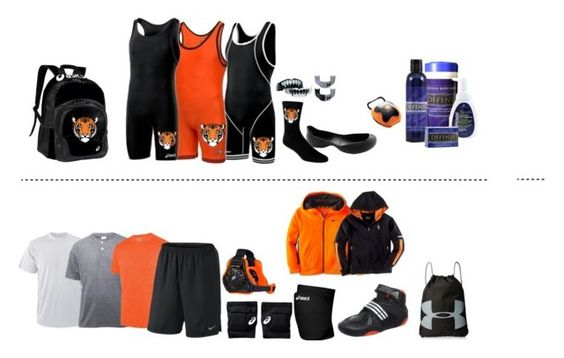 """""""Tiger Wrestling Levels and gear"""" by the-hope-family ❤ liked on Polyvore featuring Asics, Cleatskins, adidas, Augusta, NIKE, TapouT, Shock Doctor, Keen Footwear, Under Armour and Ralph Lauren"""