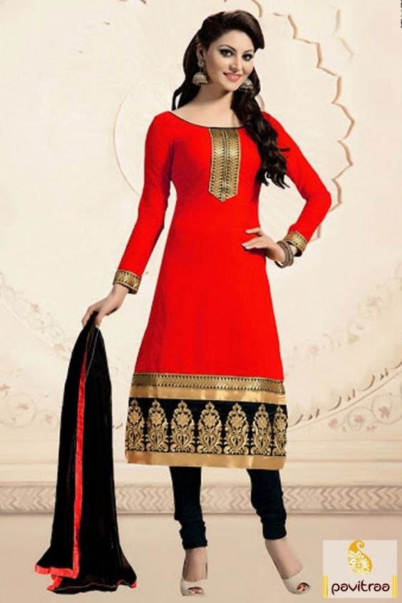 Easy drape and comfortable red black cotton churidar salwar suit