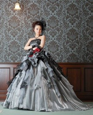 Gothic Wedding Dress in Gray