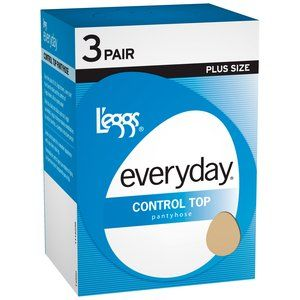 Hanes L'eggs Plus-Size Everyday Control Top Pantyhose, 3-Pair