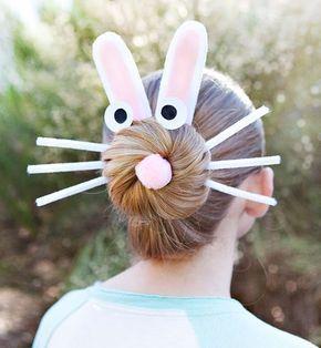 Easter hat parade ideas // bunny bun hairstyle