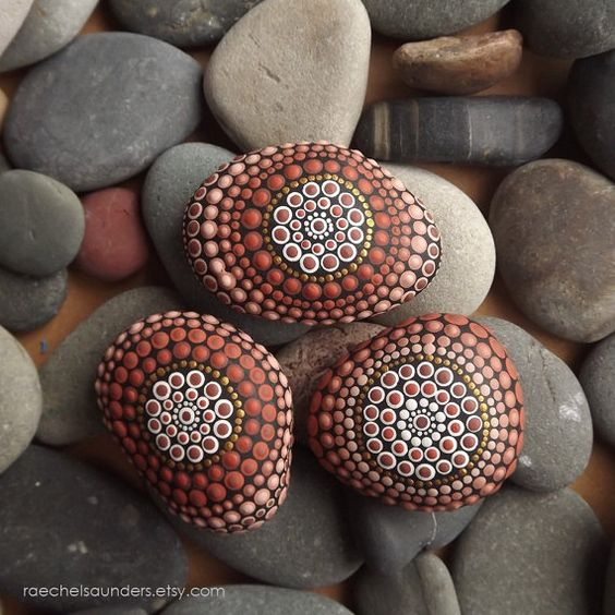 Set of 3 Painted Stones Earth design Office and by RaechelSaunders